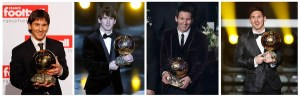 Combination photograph of Lionel Messi holding FIFA Ballon d'Or trophies